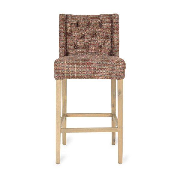 High upholstered bar stool.
