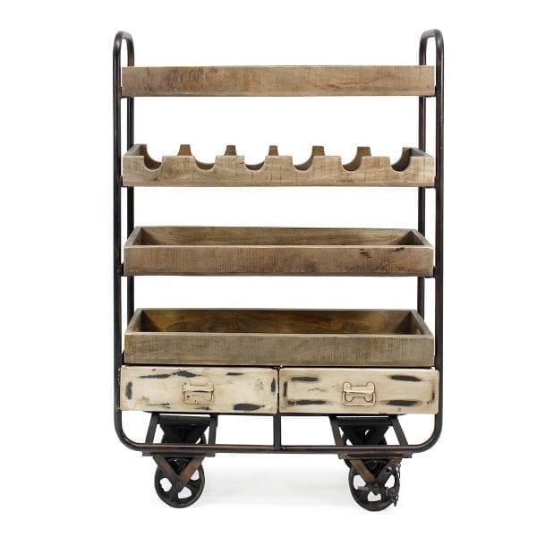 Hospitality utility carts, with bottle rack.