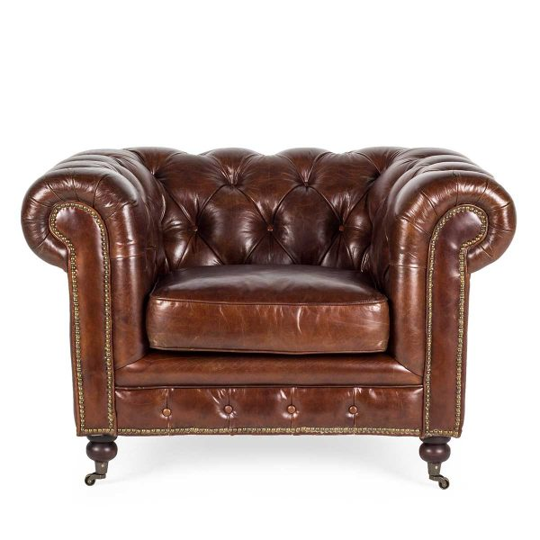 Individual brown leather armchair Chester.