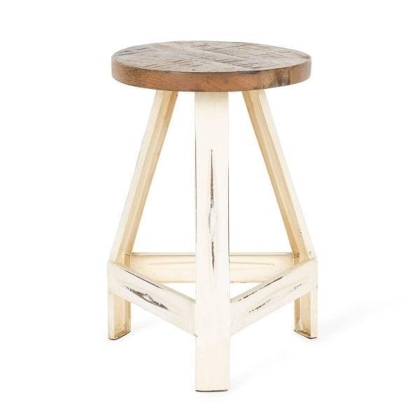 White low bar stools.