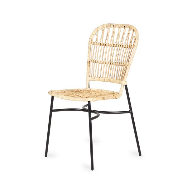 Cane and rattan café chairs.