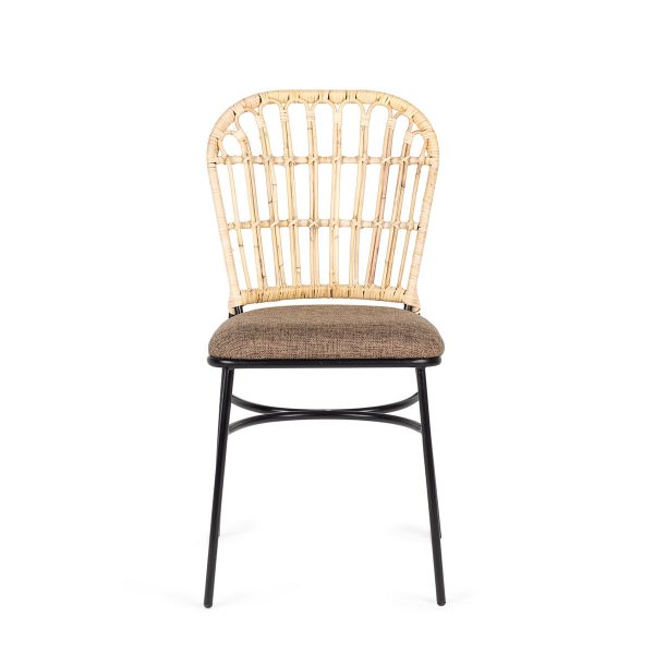 Padded rattan chair.