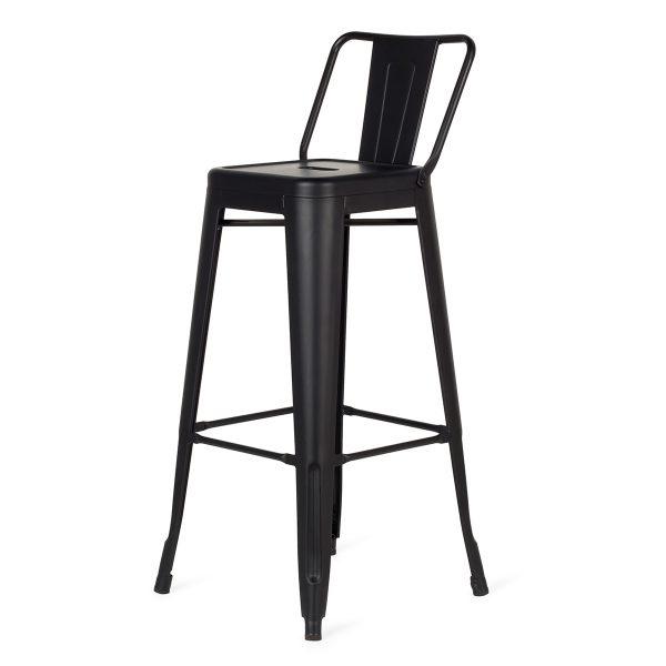 Podium black stools with backrest.