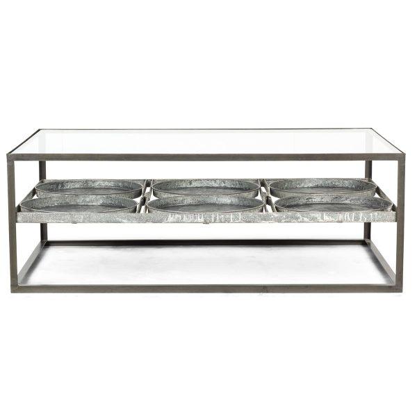 Table basse au style industrielle.