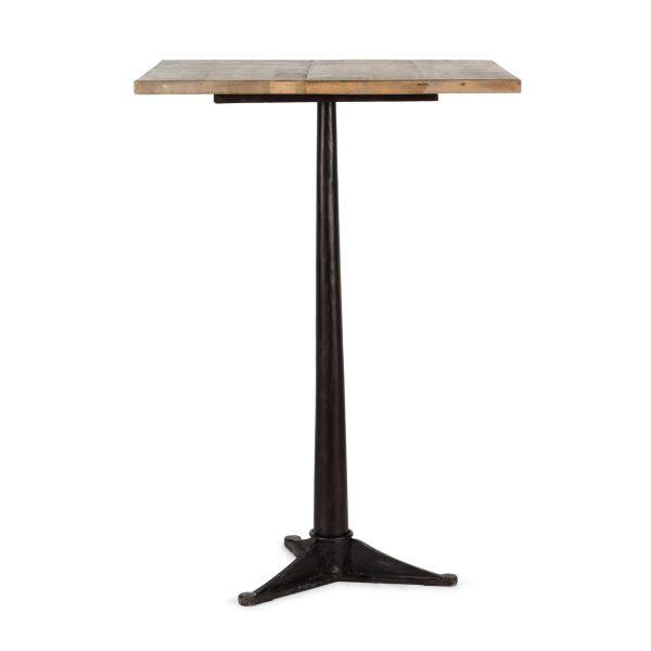 Table haute au plateau en bois.