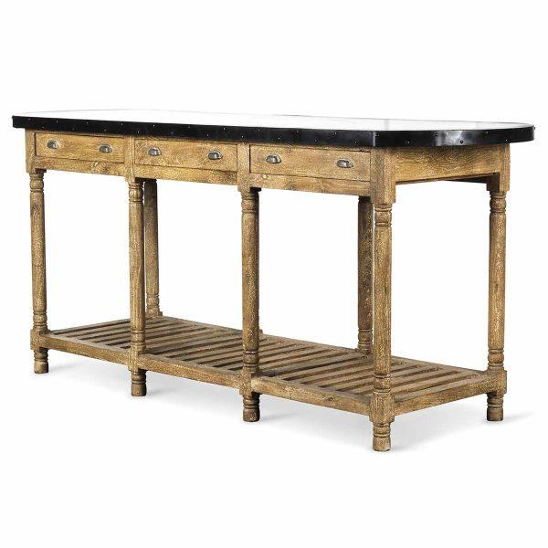 Table haute au style industriel.