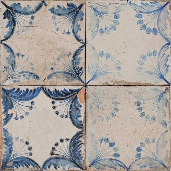 Vintage floor and wall commercial tiles.