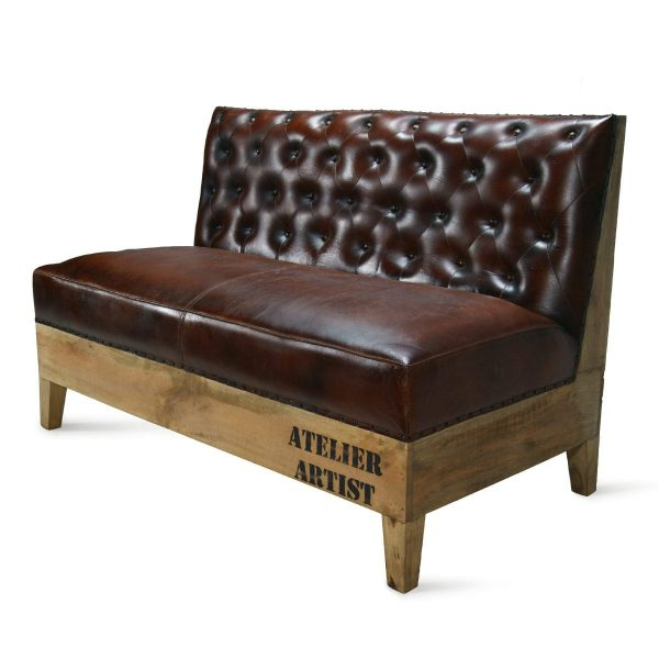 long bench or sofa capitone brown.