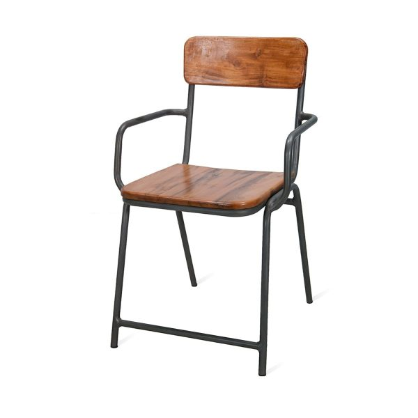 Picture of the stackable bar chair made of metal and iron Capri model.