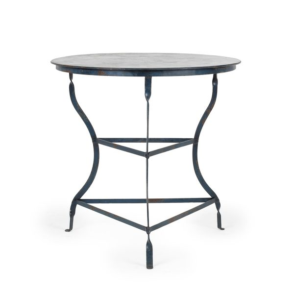 Fotos. Mesas redondas de forja color azul. Mod. Hosoya.