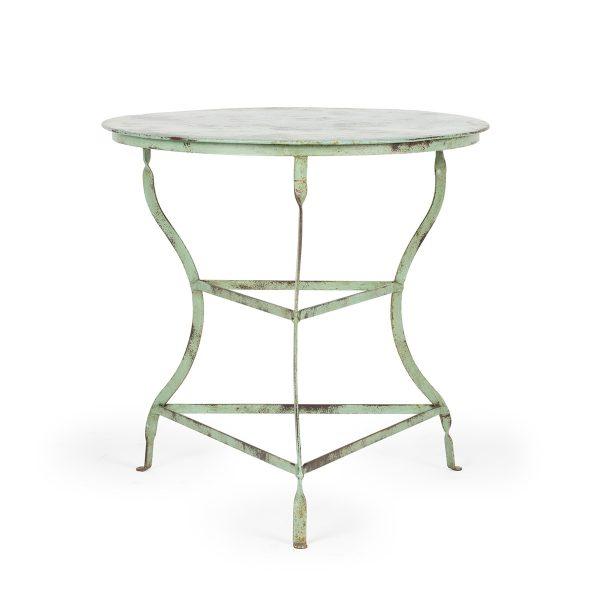 Fotos. Mesas redondas de forja color verde. Mod. Hosoya.
