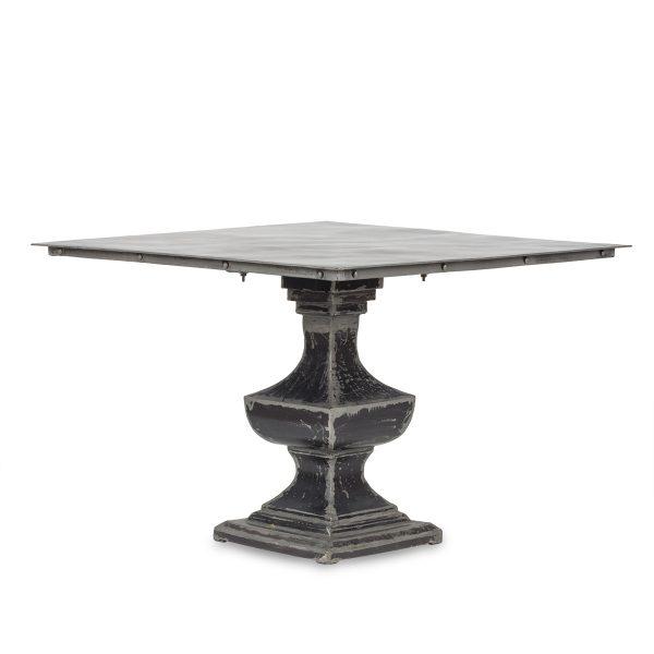 Black square table.