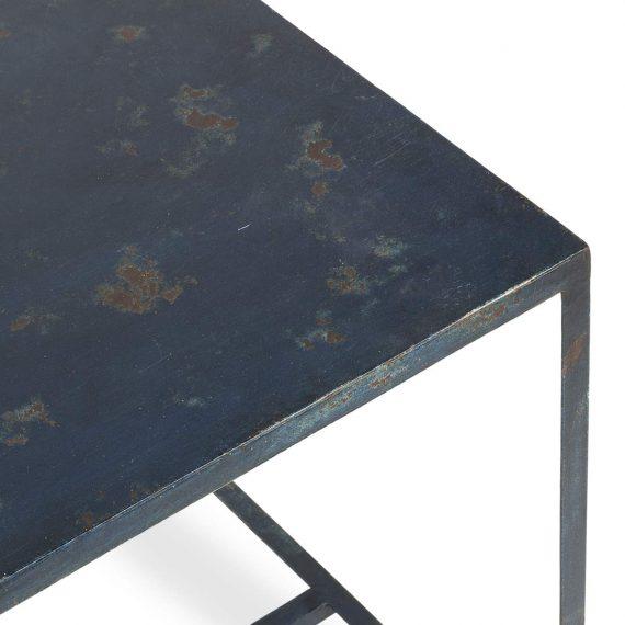 Blue metal table Bercy model.