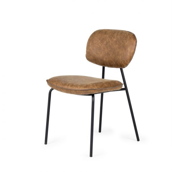 Brown leatherette chairs.