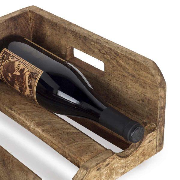 Porte-bouteilles pour vins en bois.