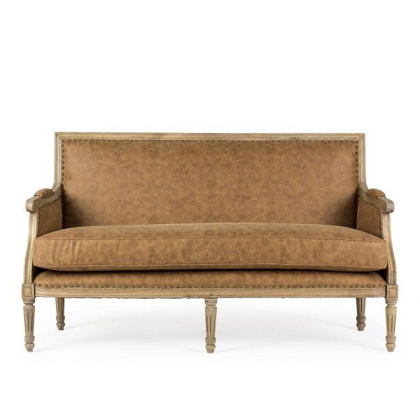 Canapé deux places en simili cuir.