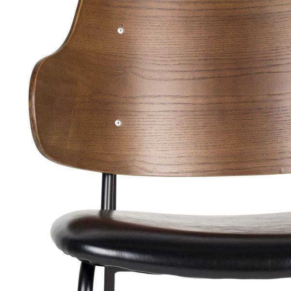 Madera y polipiel en la silla Pantic.