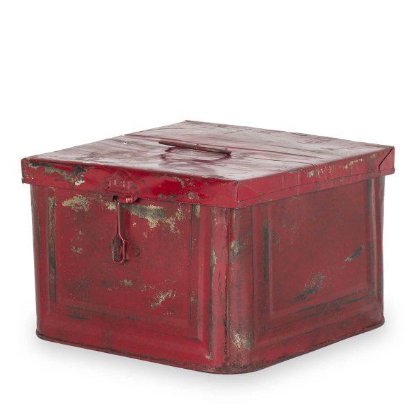 Caja decorativa metálica de color rojo